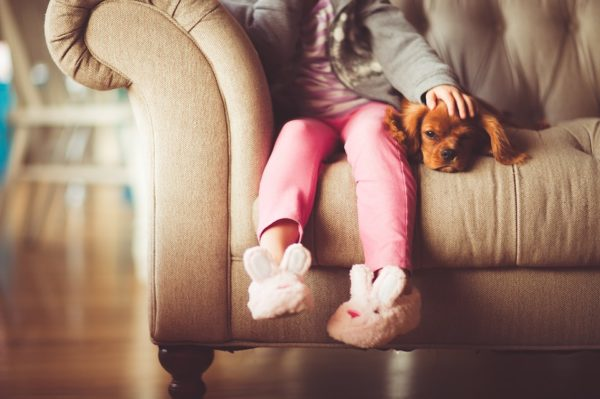 child sitting on sofa with dog