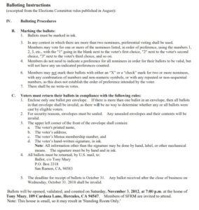 SFRM 2018 Ballot Rules